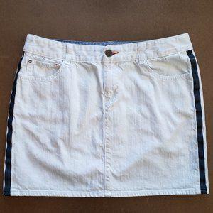 Tommy Hilfiger White Mini Skirt Blue Side Stripes